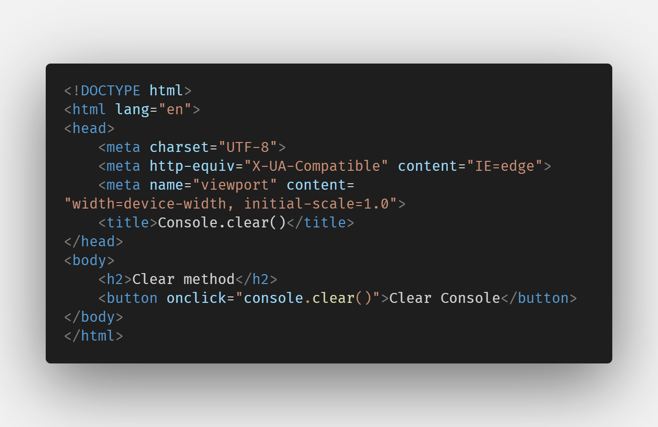 console.clear()