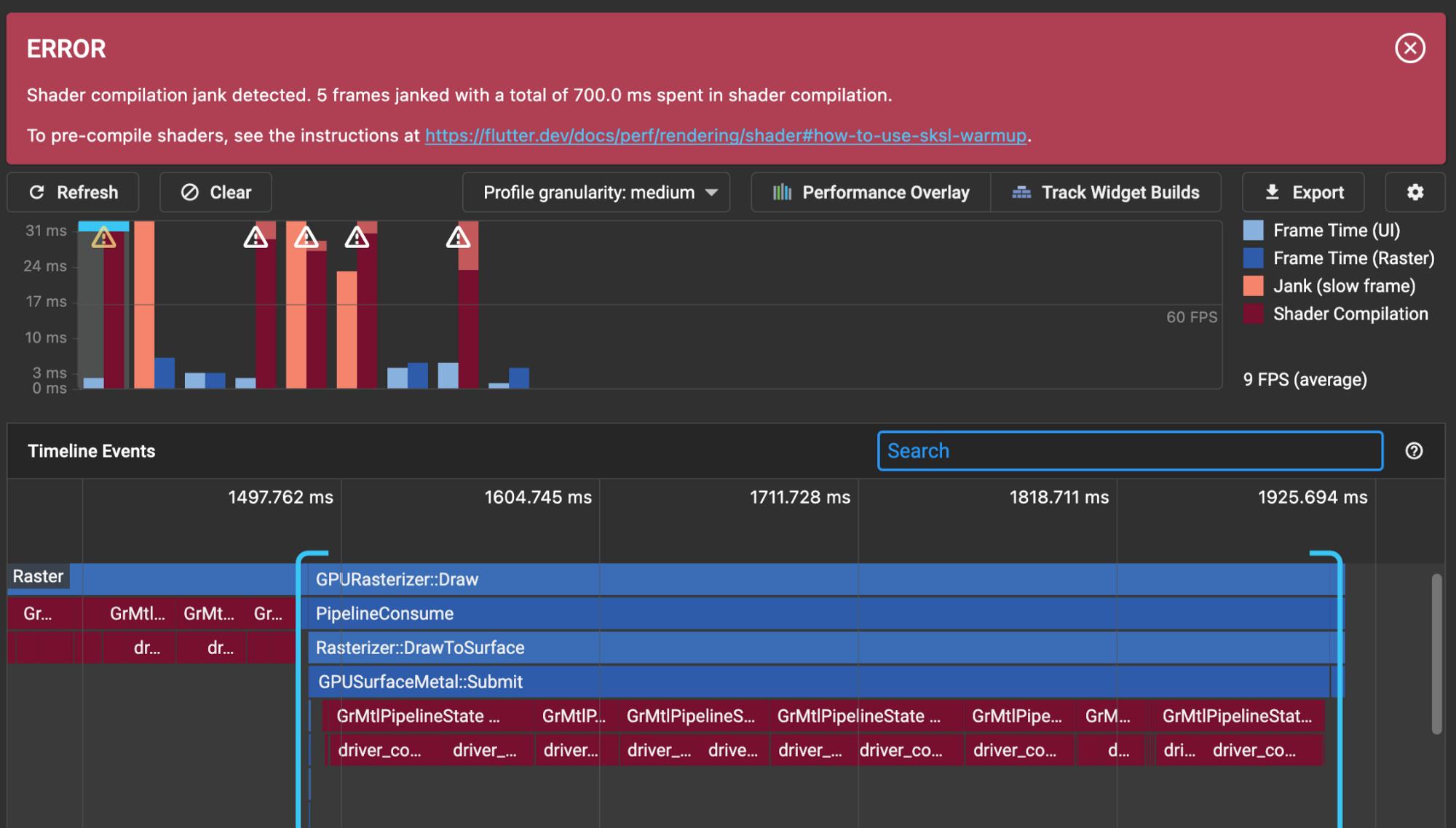 DevTools detecting lost frames due to shader compilation