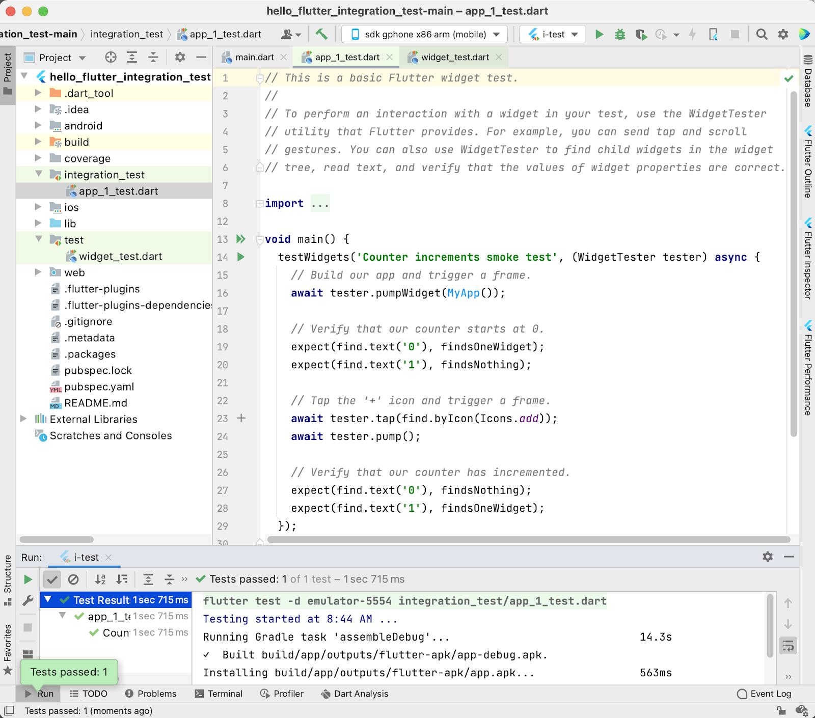 Integration testing your Flutter app in IntelliJ/Android Studio