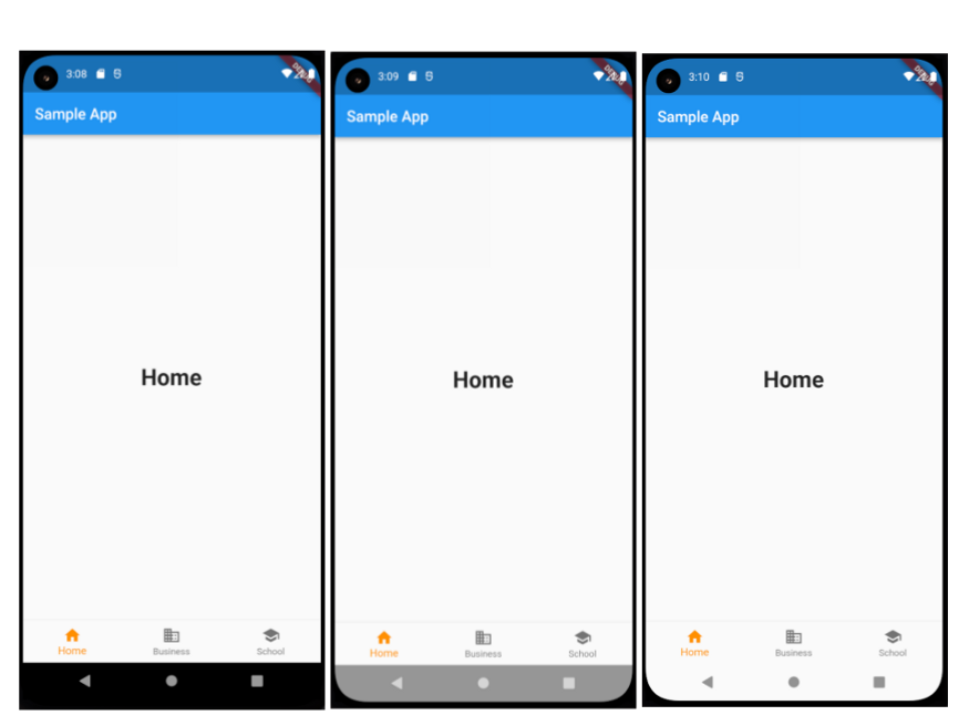 New Android edge-to-edge mode: normal mode (left), Edge to Edge mode (center), Edge to Edge with a custom SystemUIOverlayStyle (right)